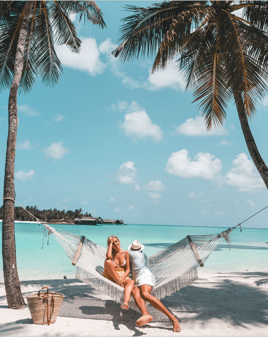 lounging in a hammock in the Maldives
