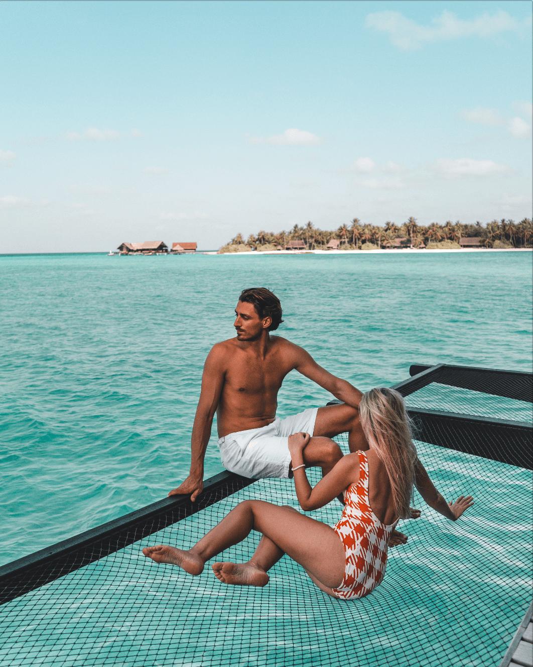 Overwater villa net in the Maldives