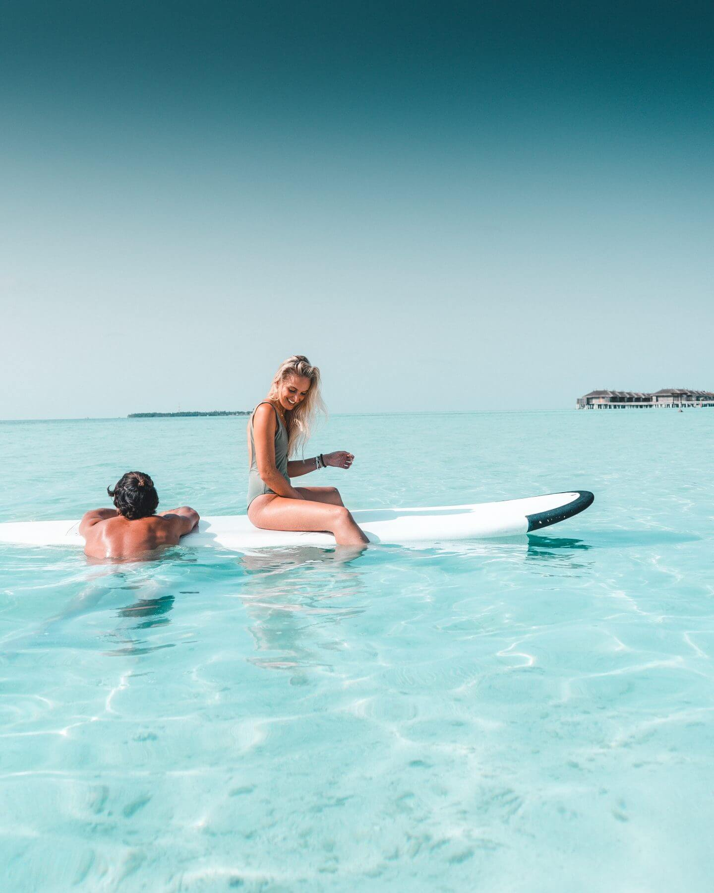 Maldivian blue water and surfing