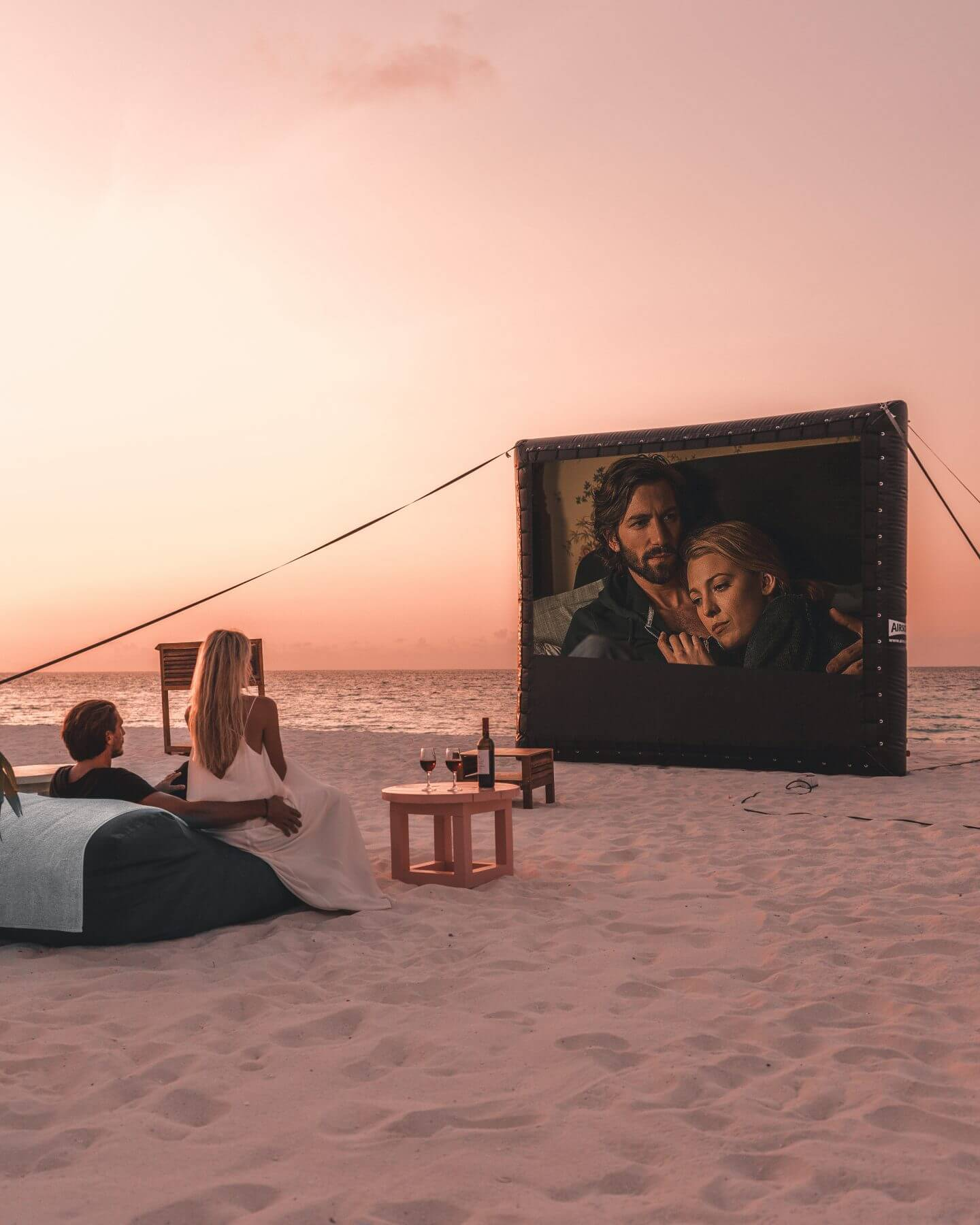 open air private cinema at Constance Moofushi in the Maldives