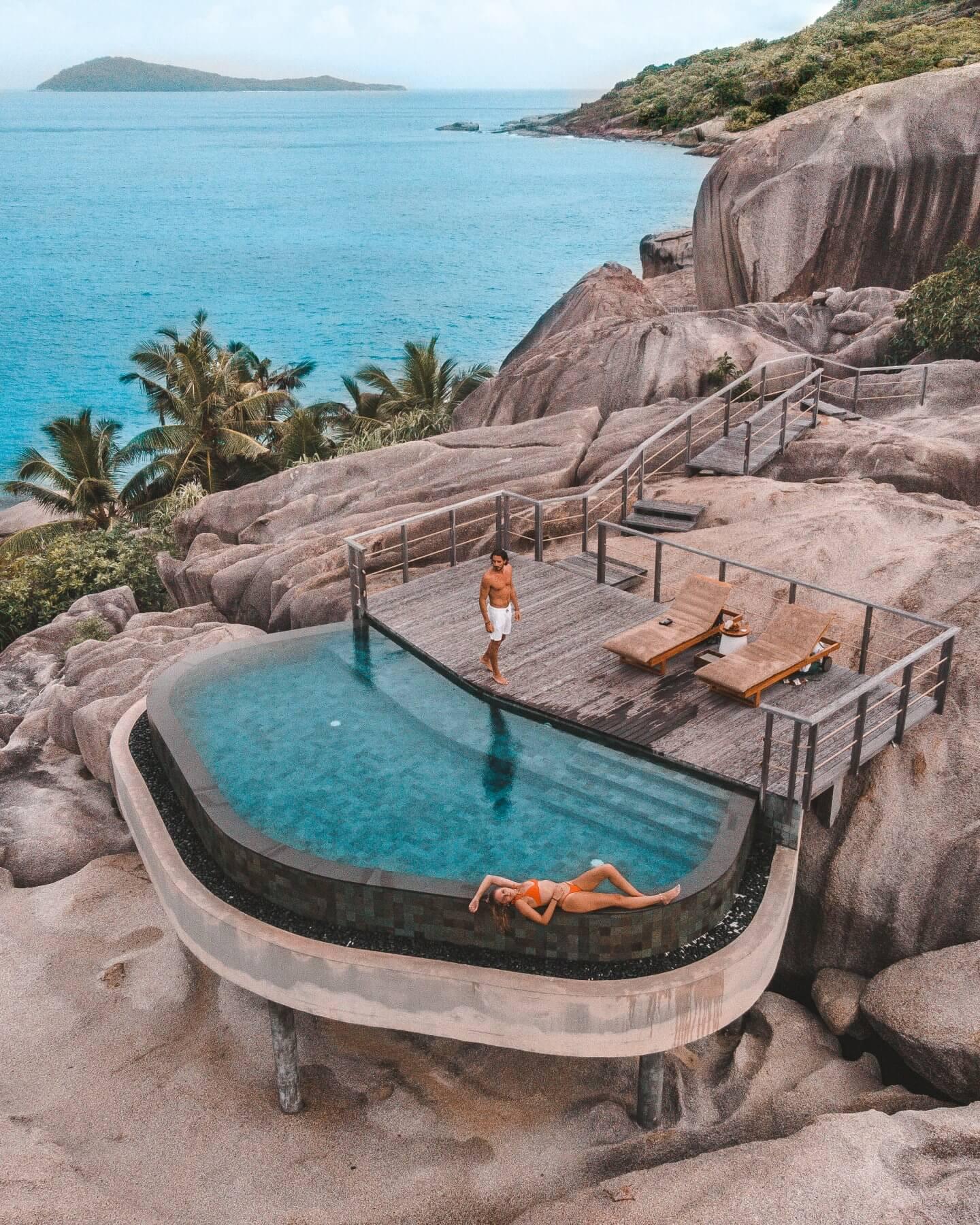 Swimming Pool in the rocks at Six Senses Zil Pasyon